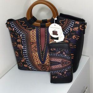 Handbags - Black hand painted tote